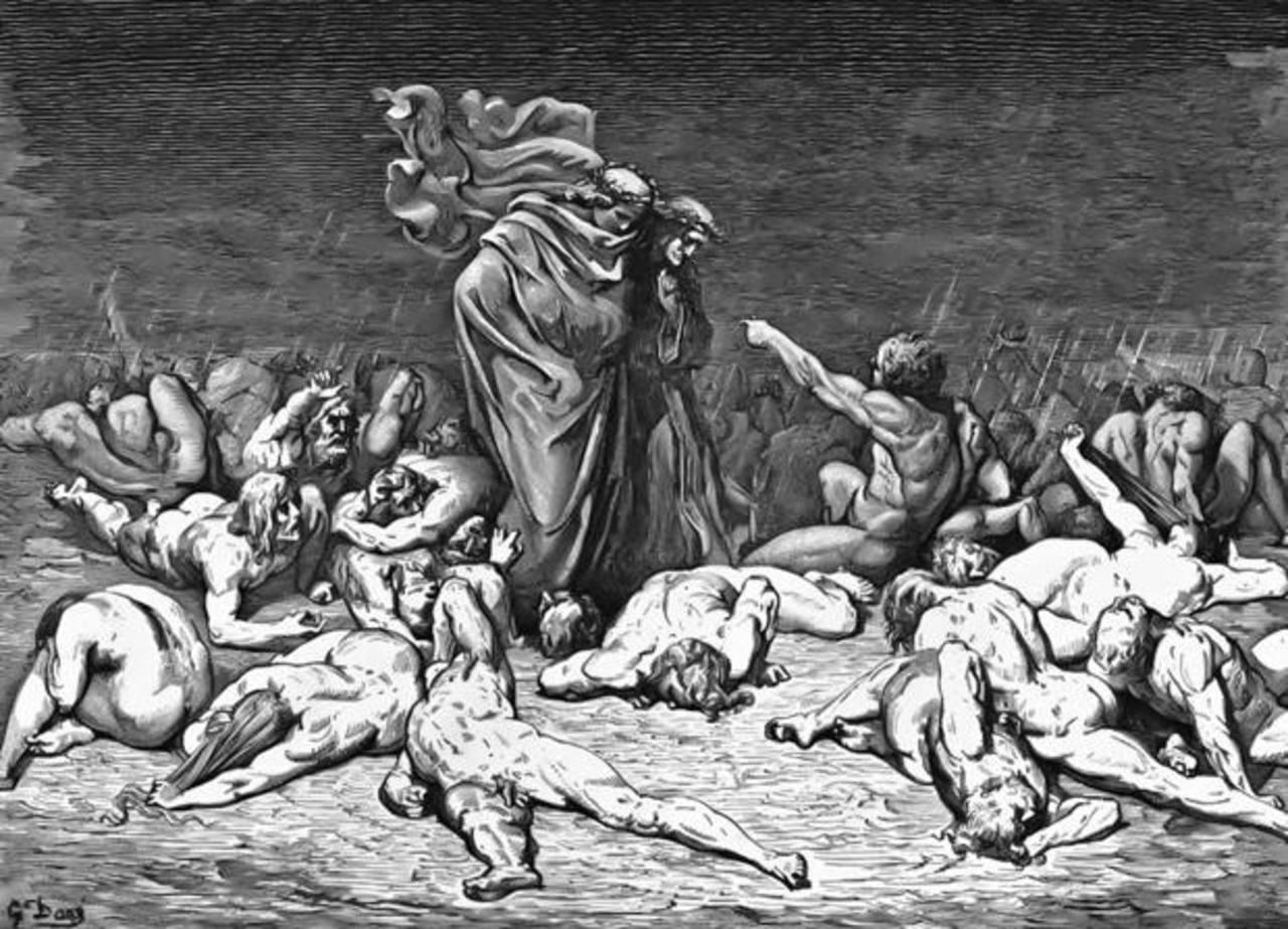 La imagen muestra a Dante y a Virgilio caminar por los diferentes círculos del Infierno. FOTO EDH/INTERNET