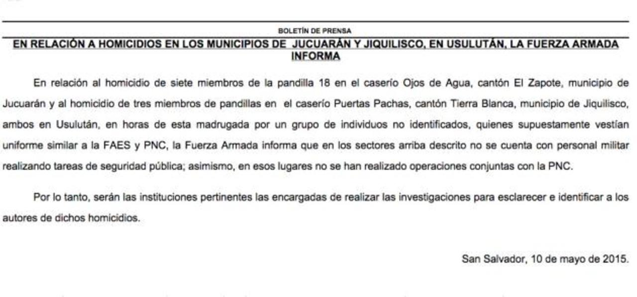 """Fuerza Armada dice en comunicado que víctimas eran """"miembros de pandillas""""."""