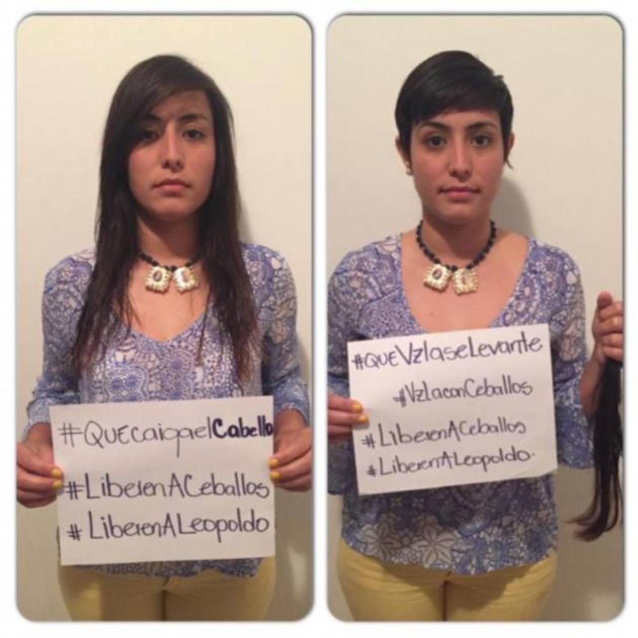 En protesta para que liberen a los opositores Daniel Ceballos y Leopoldo López, la esposa del primero, Patricia, se cortó el pelo. La campaña tuvo una fuerte repercusión en redes sociales. Foto EDH / internet