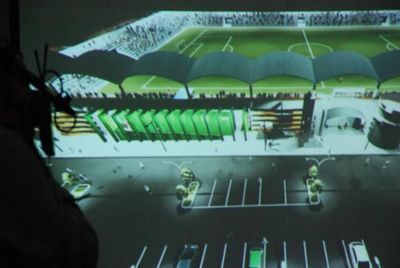 Imagen de video donde se muestra cómo quedará ya reconstruido el estadio Francisco Barraza. Foto edh / Lucinda Quintanilla