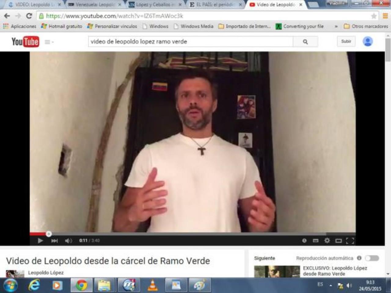 El vídeo apareció ayer en la cuenta de Youtube del líder opositor venezolano Leopoldo López.
