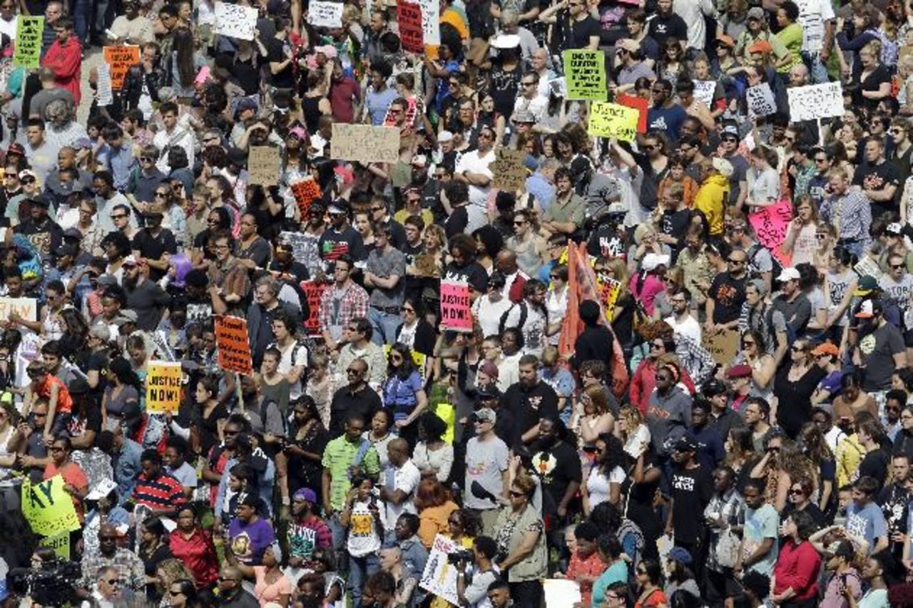 Los manifestantes realizaron una marcha pacífica. EDH/AP