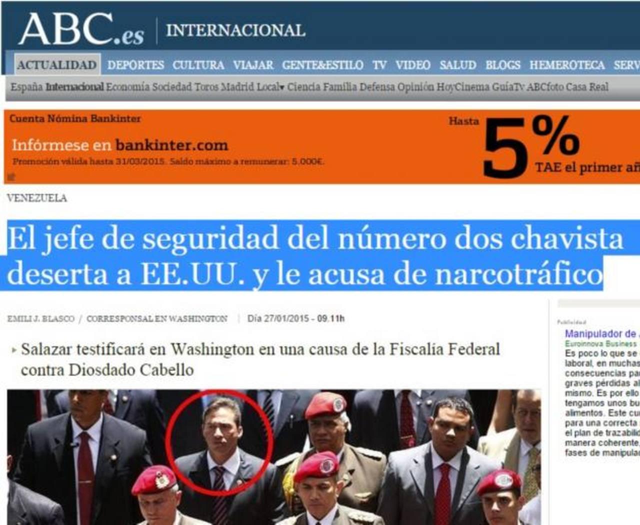 Publicación del diario español ABC, del pasado 27 de enero, que aportaba los primeros datos del caso. foto edh / internet