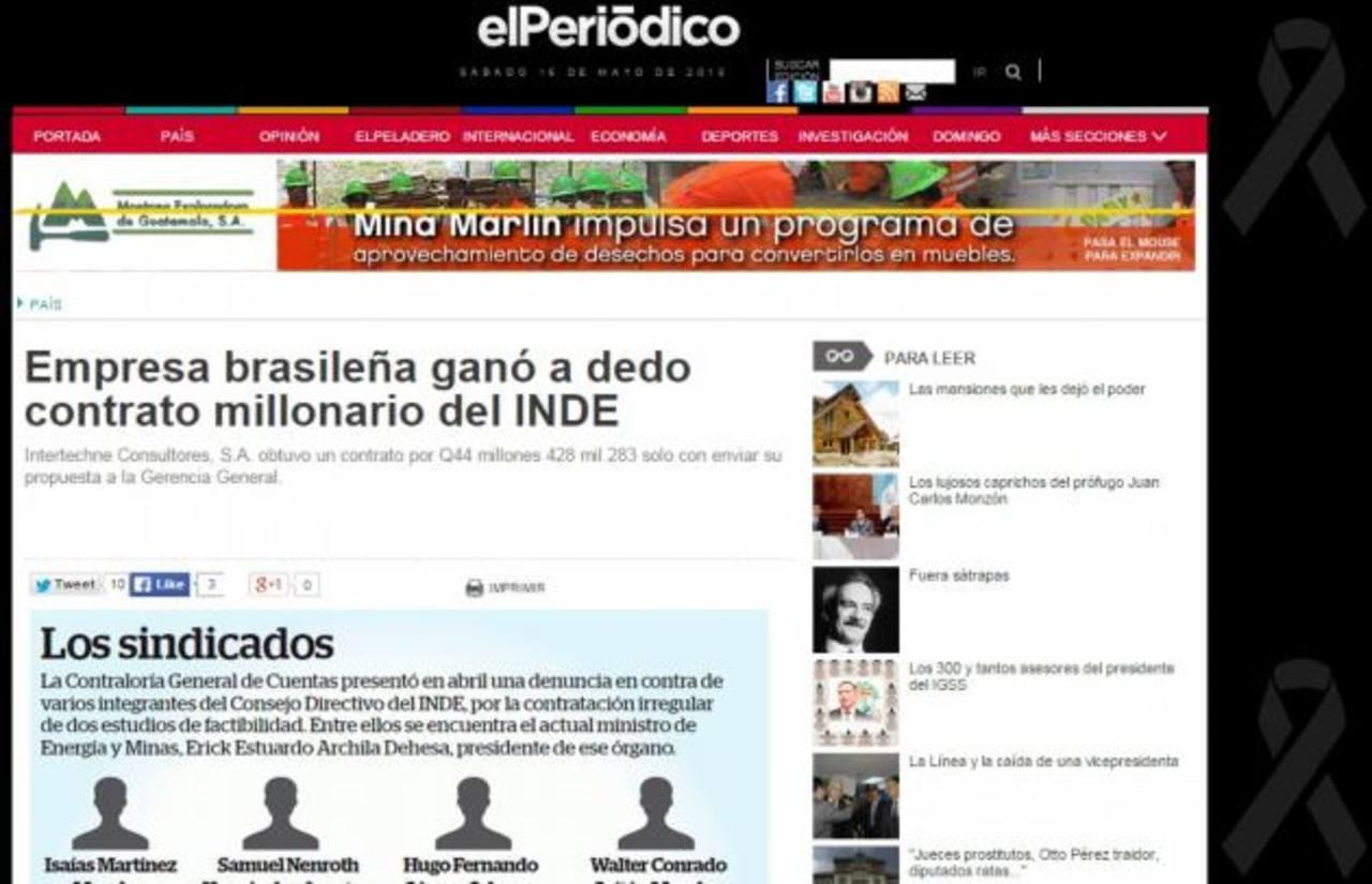 Captura de imagen de la publicación que el diario guatemalteco colgó en su portal: www.elperiodico.com.gt sobre el contrato que obtuvo la empresa Intertechne. foto EDH