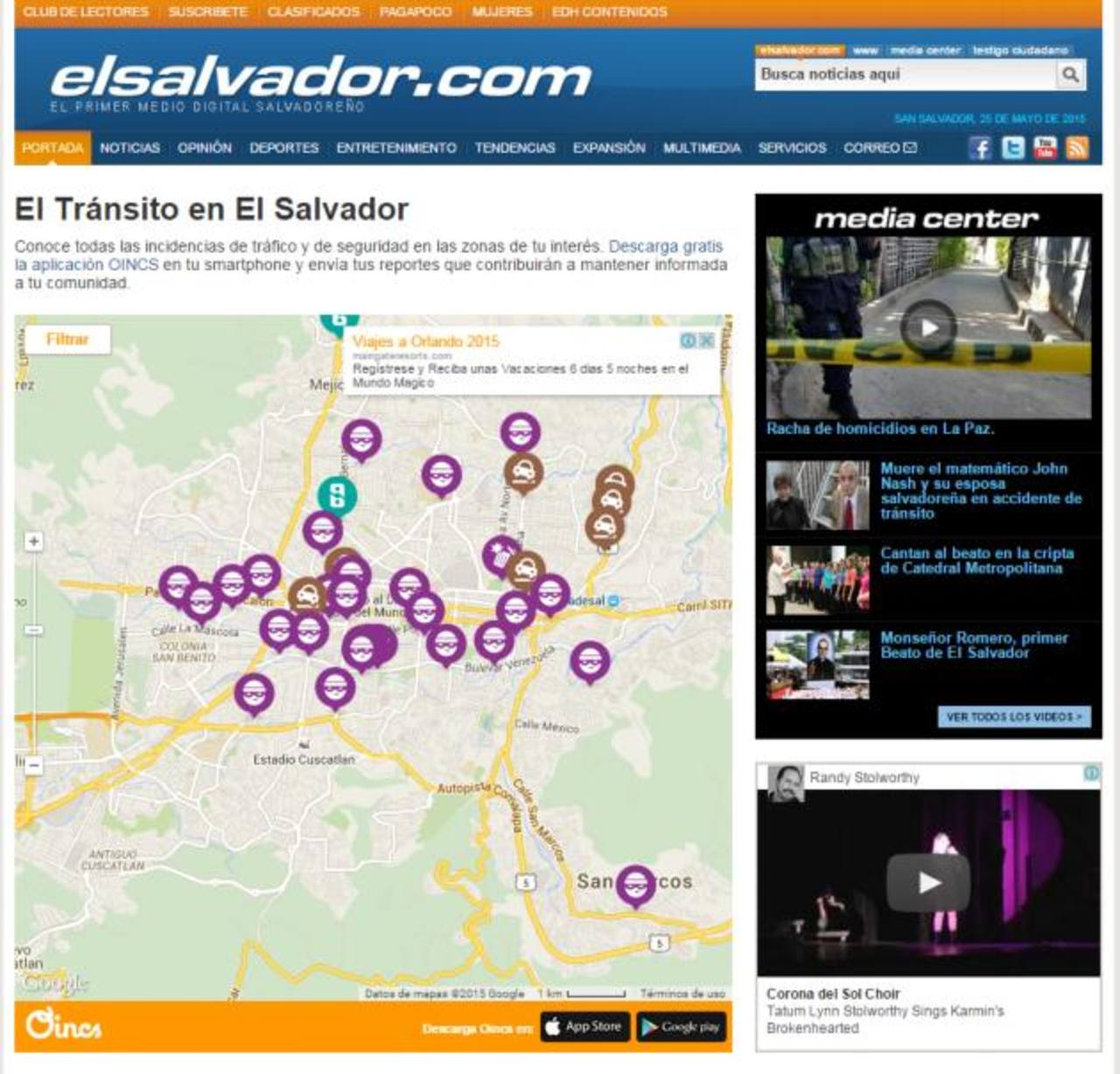 Con un click en este icono en la portada de elsalvador.com, el usuario podrá ver el mapa interactivo de Oincs.