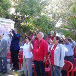 Sigfrido Reyes y Norma Guevara, del FMLN, en la conmemoración del natalicio de Farabundo Martí. Foto EDH / R. Mendoza L.