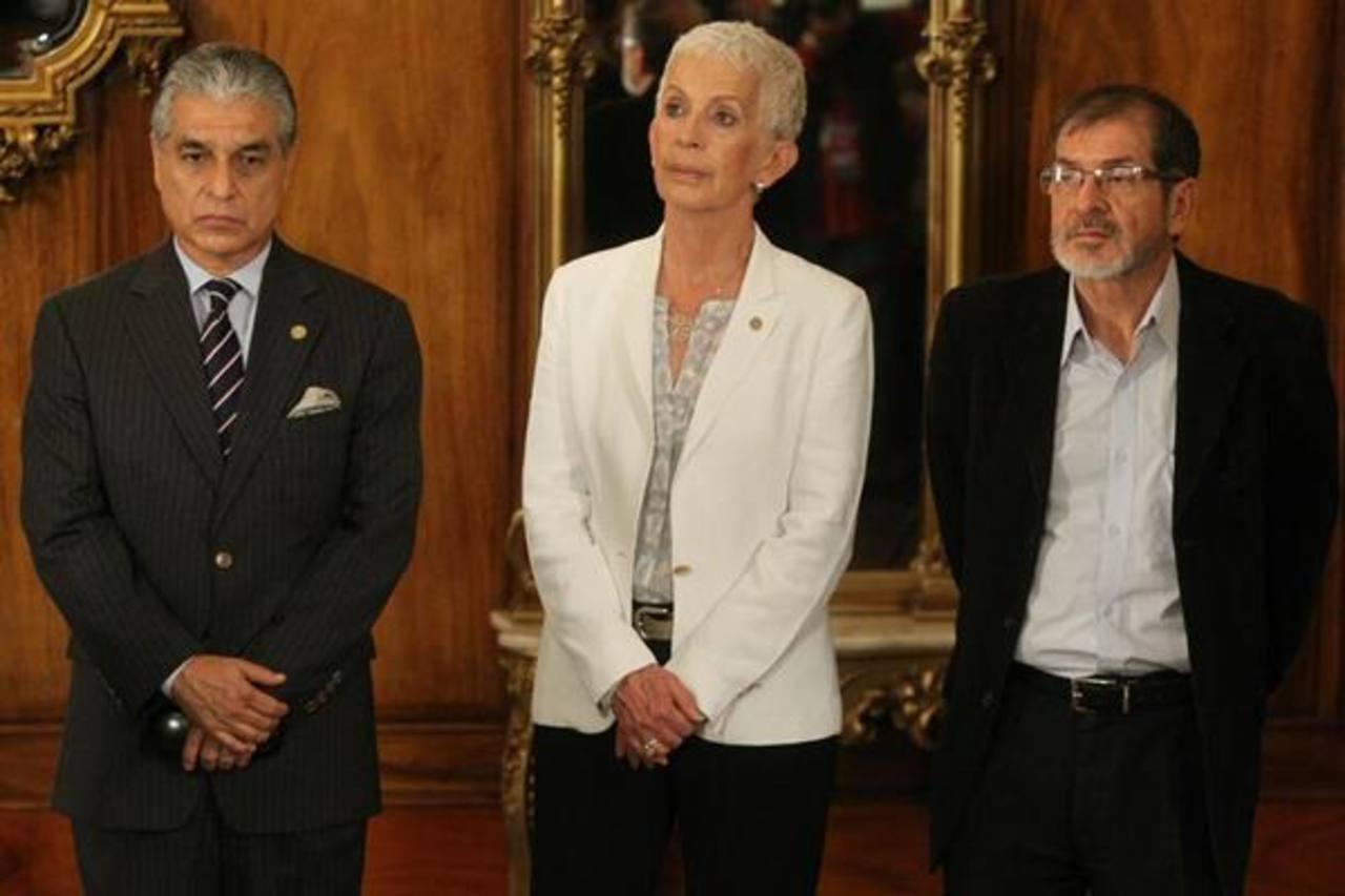 Los candidatos a la vicepresidencia: Carlos Contreras, Adela de Torrebiarte y Adrián Zapata. foto tomada de Prensa Libre