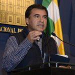Fotografía cedida por la Agencia Boliviana de Información (ABI) que muestra al ministro de la Presidencia, Juan Ramón Quintana, en una rueda de prensa en La Paz (Bolivia).