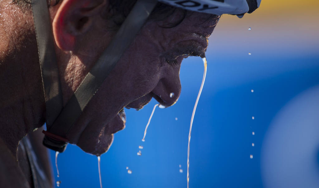Water drips down from Krige Schabort of the United States after he co
