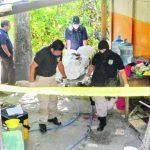Medicina Legal procesa la escena donde fue asesinado un alumno en Mejicanos. Foto EDH / Marlon Hernández.