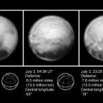 """Fotografía cedida por la NASA de las imágenes más nítidas que y cercanas de Plutón proporcionadas por la nave espacial """"New Horizons""""."""