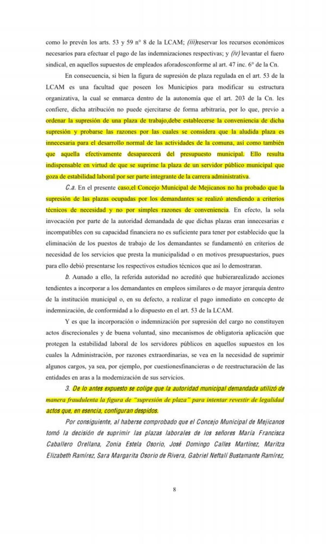 Sala de lo Constitucional resolvió a favor de empleados despedidos de la alcaldía de Mejicanos injustificadamente. Foto EDH