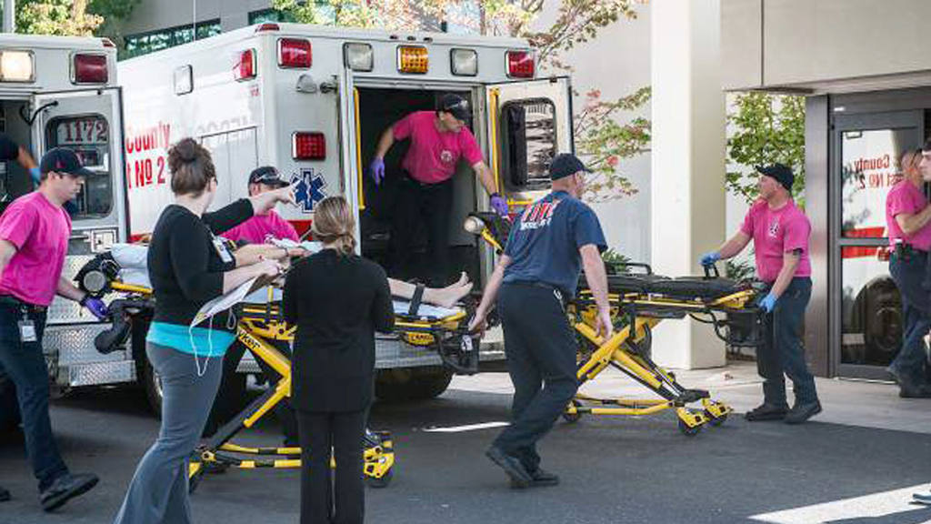 A patient is wheeled into the emergency room at Mercy Medical Center