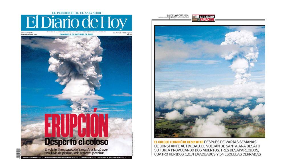 erupción el volcán Ilamatepec