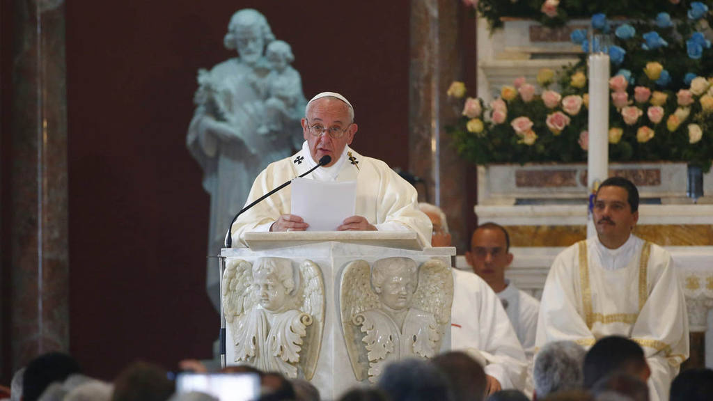 Pope Francis leads Mass in the sanctuary of the Virgin of Charity in