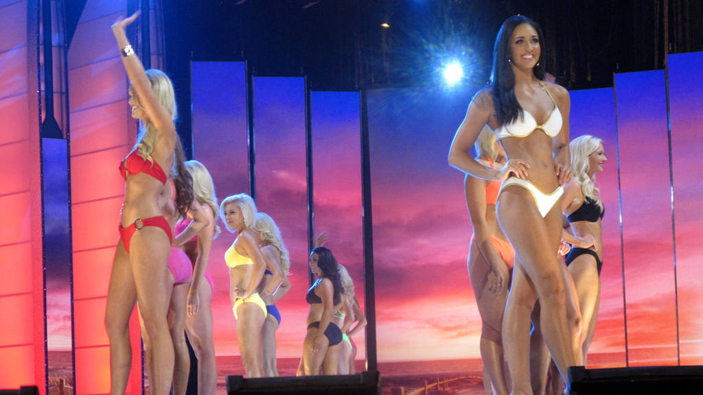 Contestants compete in the swimsuit portion of the 2016 Miss America