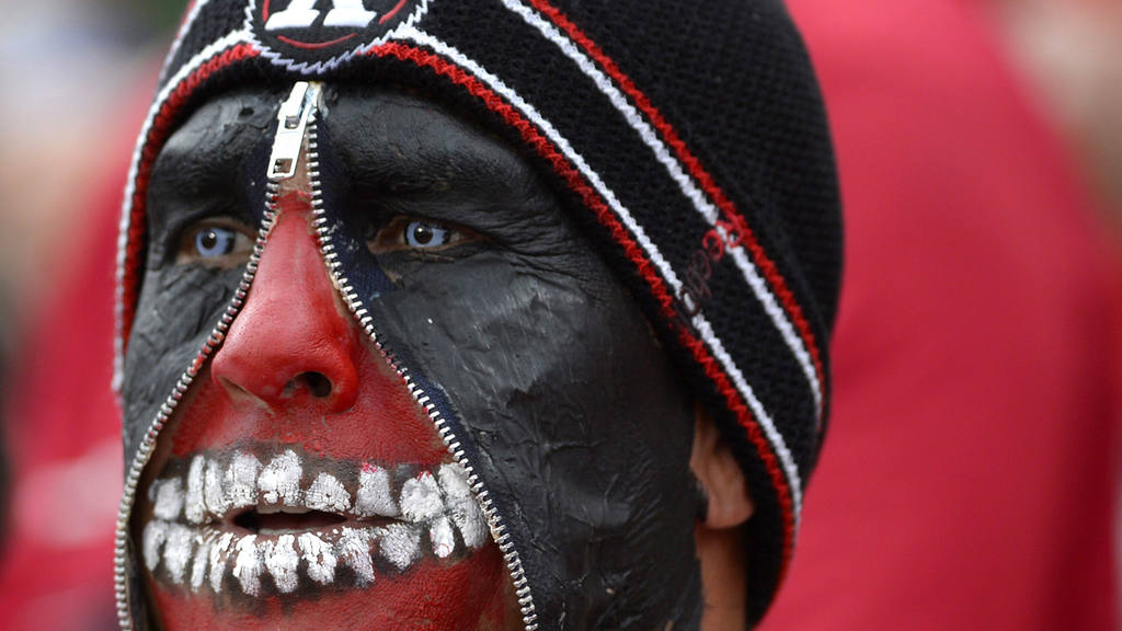AP10ThingsToSee - Ottawa Redblacks fan Jimmy Fata wears face paint as