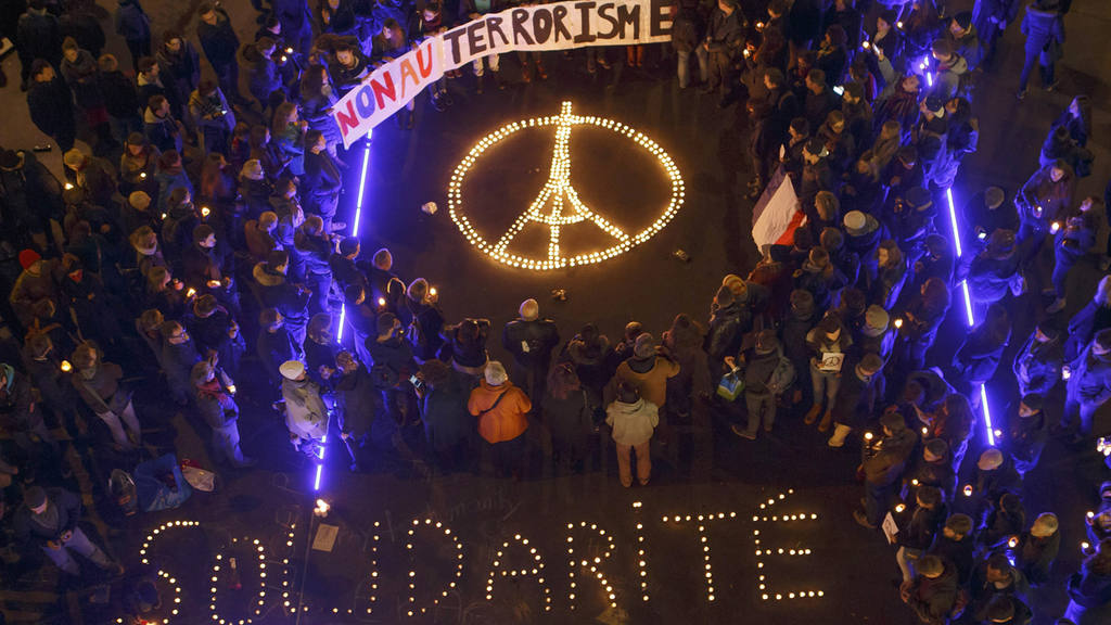 Tribute in Lausanne for the Paris terror attacks