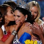 Other contestants congratulate Miss Philippines Pia Alonzo Wurtzbach