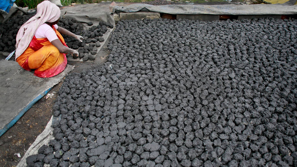An Indian woman prepares to sun dry balls of used coal mixed with cow