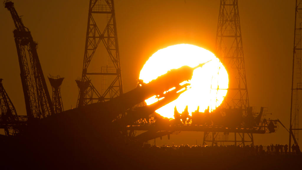 The Russian Soyuz TMA-19M space ship that will carry new crew to the