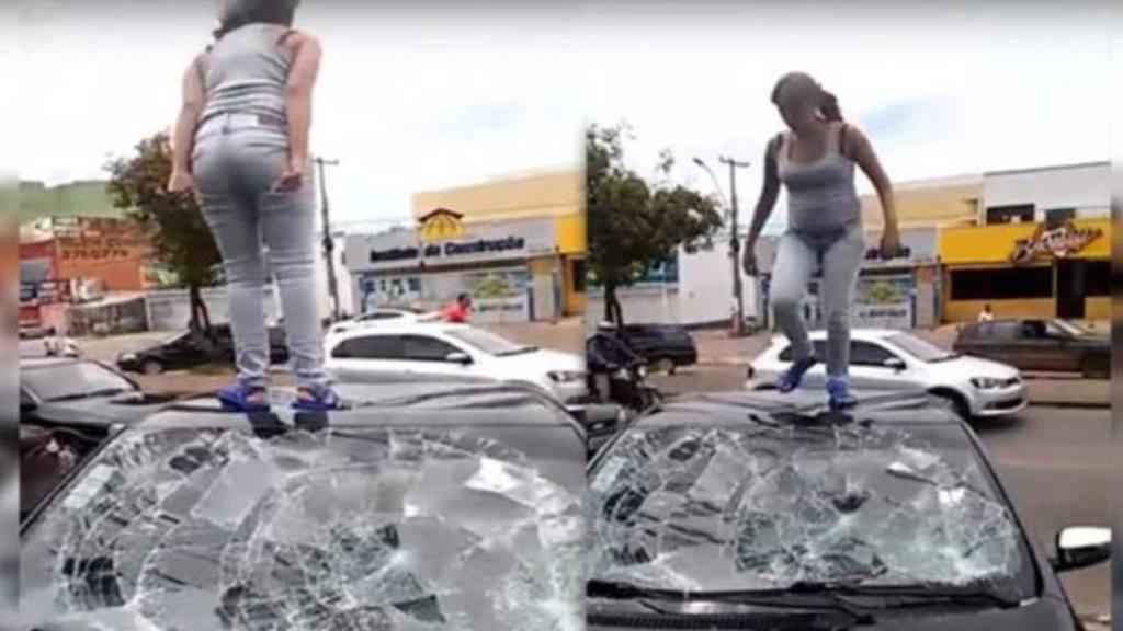 Mujer enfurecida destroza el auto de su pareja