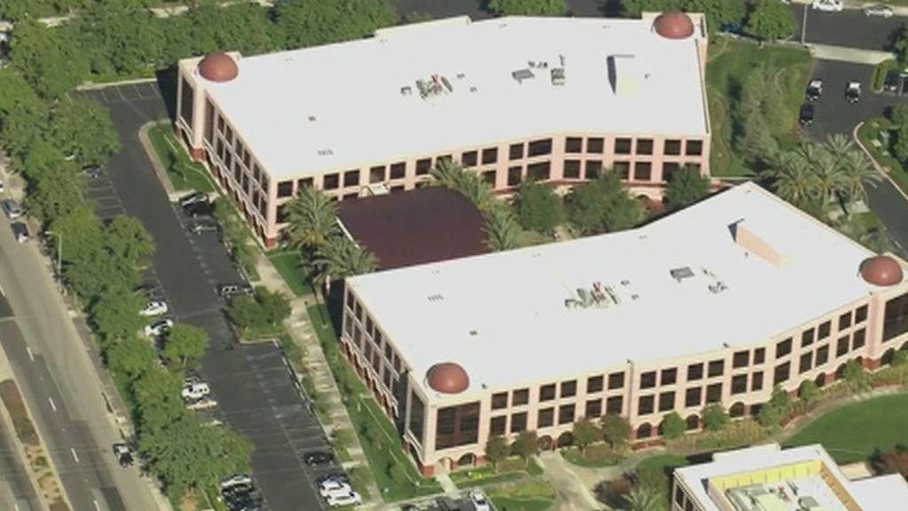 This aerial view shows a Southern California social services center i