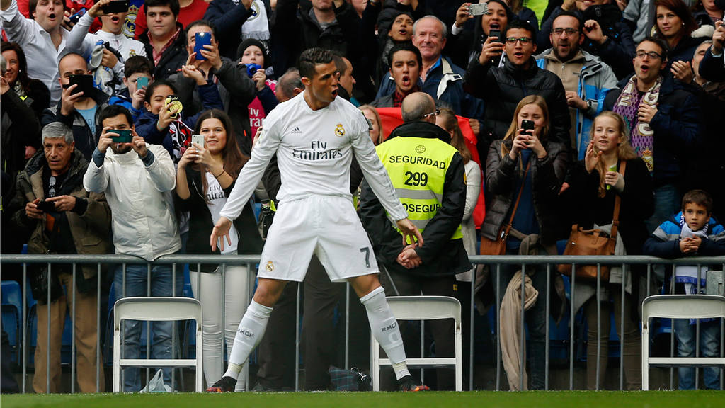 Real Madrid's Cristiano Ronaldo celebrates after scoring a goal durin