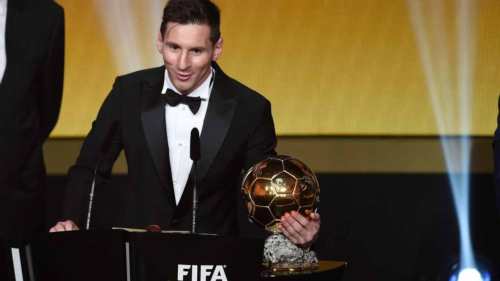 Argentina's Lionel Messi delivers a speech after winning the FIFA Men