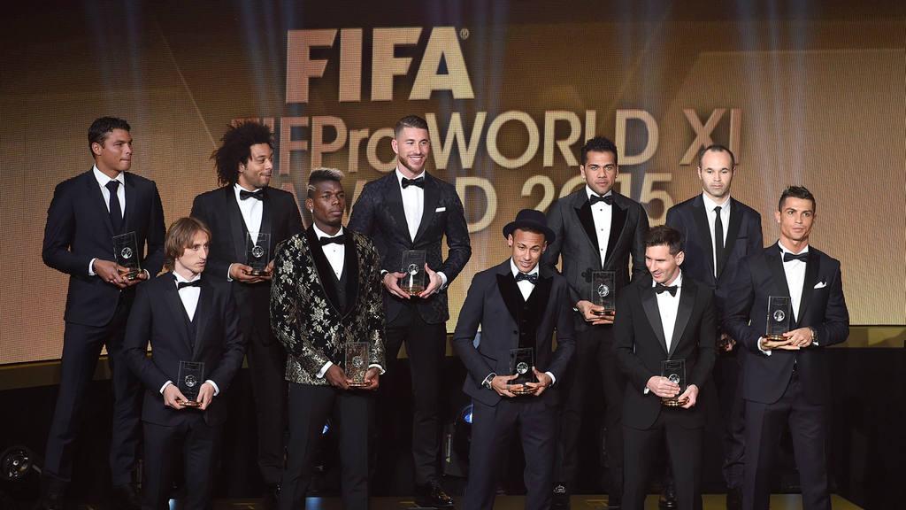 The FIFA/FIFPro World XI Team 2015 with Brazil's Thiago Silva