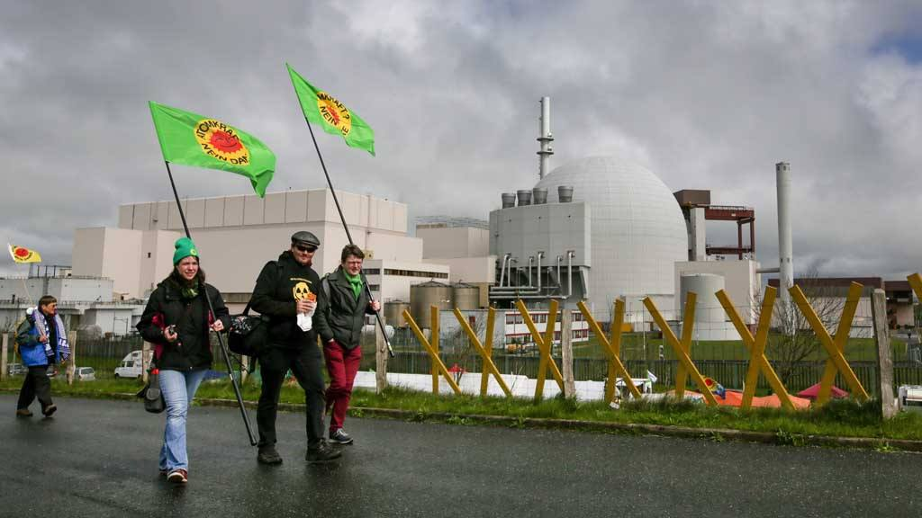 Protest and cultural mile at Brokdorf nuclear power plant