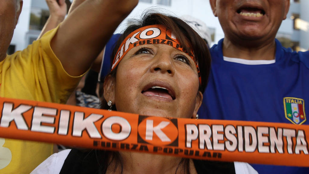 Supporters of presidential candidate Keiko Fujimori