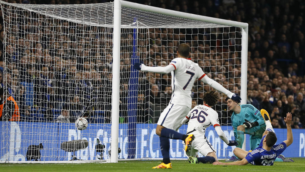PSG's Adrien Rabiot, second left, scores his sideøs first goal during