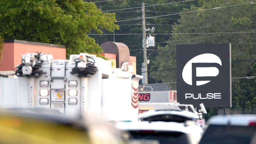 Police cars and emergency vehicles surround the Pulse Orlando nightcl