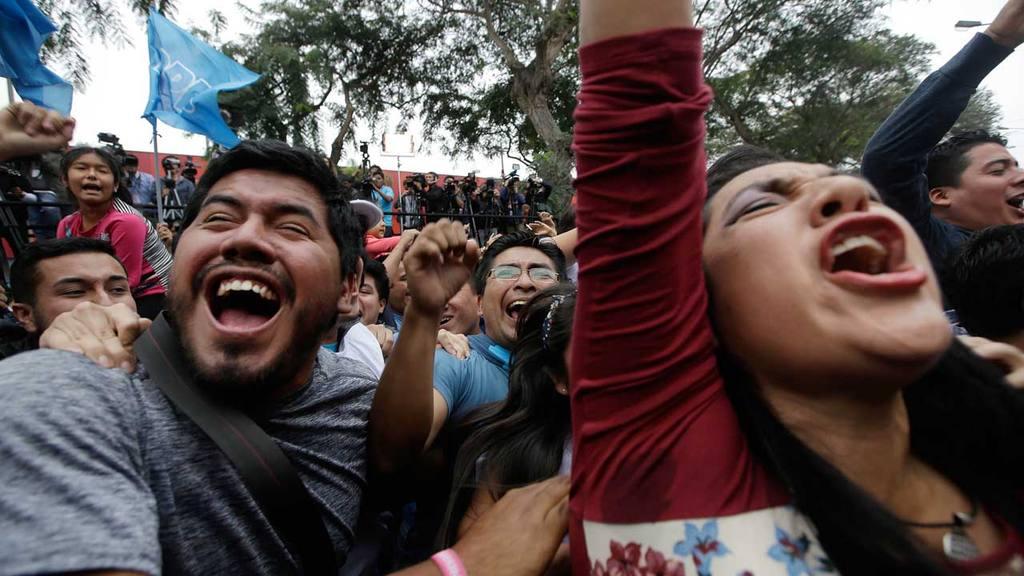Supporters of presidential candidate Pedro Pablo Kuczynski celebrate