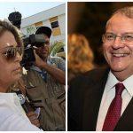 A la izq., Françoise Amiridis (ahora viuda) ya la der. wl embajador griego en Brasil, Kyriakos Amiridis.