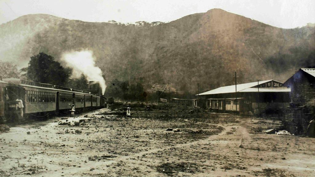 Estación ferrocarril en Chalchuapa, Santa Ana, 1934