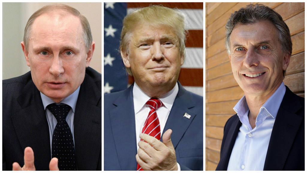 De izq. a der.: el gobernante ruso, Vladimir Putin; el presidente electo de EE.UU., Donald Trump; y el mandatario argentino Mauricio Macri.