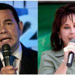 Los candidatos Jimmy Morales (iz) y Sandra Torres.