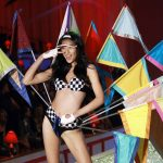 Model Liu Wen presents a creation during the Victoria's Secret Fashion Show at the Lexington Armory in New York