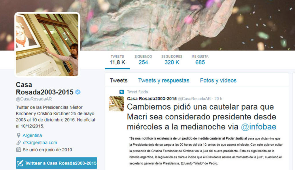Así luce la cuenta de Twitter de la Casa Rosada