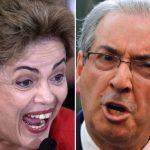 A la izq., la presidenta brasileña Dilma Rousseff; a la derecha, el presidente de la Cámara de Diputados de Brasil, Eduardo Cunha.