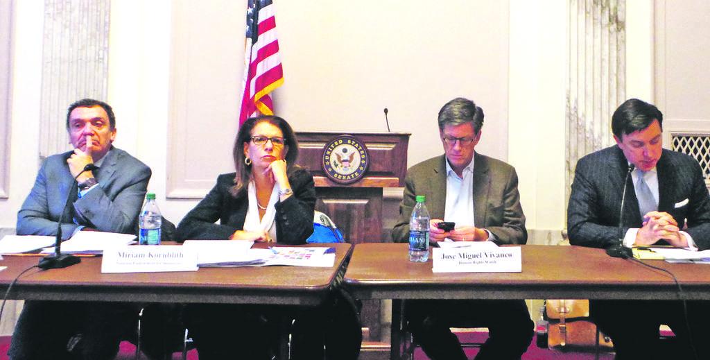 Santiago Canton, Miriam Kornblith, Jose Miguel Vivanco y Russ Dallen, formaron el panel que analizó las elecciones venezolanas del domingo.