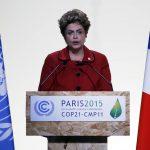 La presidenta de Brasil, Dilma Rousseff, durante la apertura de la cumbre del clima de París (COP21).