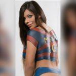 La Miss Bumbum, Suzy Cortez, le dedicó un bodypaint al argentino Lionel Messi