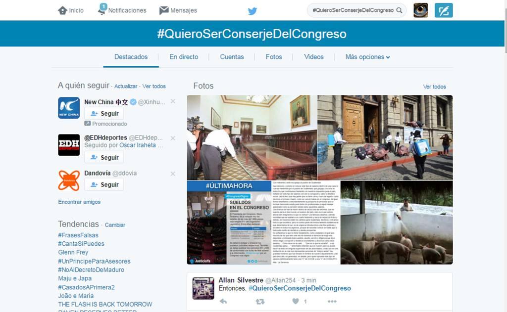 En las redes sociales los internautas respondieron creando en Twitter #QuieroSerConserjeDelCongreso .