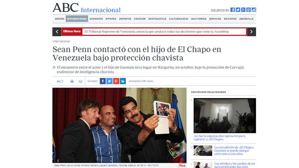 Según el diario ABC, el actor estadounidense se reunió con uno de los hijos del capo mexicano fugado en julio de 2015 de una cárcel de máxima seguridad de México.