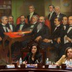 La presidenta del Tribunal Supremo de Justicia de Venezuela Gladys Gutiérrez (c) en reunión con los magistrados.