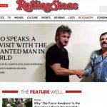 El narcotraficante Joaquín El Chapo Guzmán (der) en una entrevista con el actor y director estadounidense Sean Penn, para la revista Rolling Stone, antes de su captura.