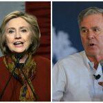 Los precandidatos Hillary Clinton, demócrata, (iz), y el republicano Jeb Bush.
